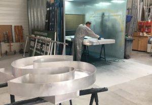 En plein travail projet Ninkasi - Atelier Gilles Bail - Lyon
